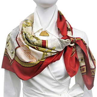 Authentic Hermes Silk Jacquard Scarf Petite Venerie RARE Red Colorway
