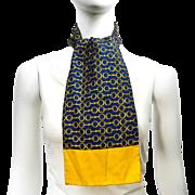 Authentic Vintage Hermes Paris Ascot Scarf 100% Silk Yellow Blue