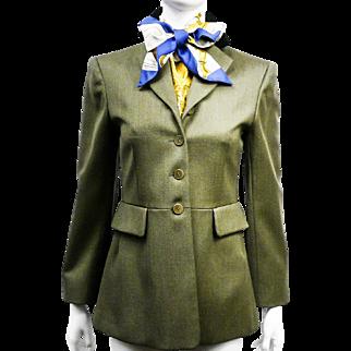 Vintage Hermes Riding Dressage Jacket Blazer with Contrasting Velvet Collar Wool Sz 38