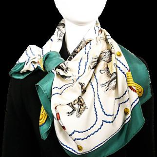 Authentic Vintage Hermes Silk Scarf Cadre Noir by Colonel G. Margot 1963 RARE