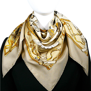Authentic Vintage Hermes Silk Scarf Presentation de Chevaux