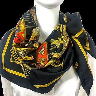 Authentic Hermes Silk Scarf Le Temps des Marionnettes Black Colorway