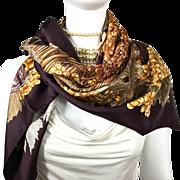 Authentic VTG Hermes Silk Scarf Vendanges w/Box