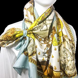 Authentic Vintage Hermes Silk Jacquard Scarf Napoleon Light Blue Colorway