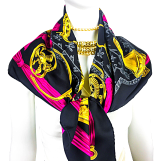 Authentic VTG Hermes Silk Etriers Black and Hot Pink