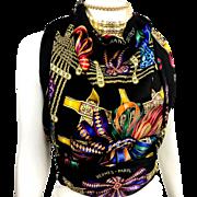 Hermes VTG Silk Scarf Les Rubans du Cheval Rare Colorway Black
