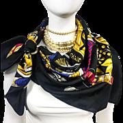 Authentic VTG Hermes Silk Jacquard Scarf Daimyo - Princes Du Soleil Levant RARE
