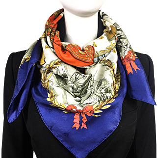 Vintage Hermes Napoleon Silk Bee Jacquard Blue Border