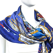 Authentic Vintage Hermes Silk Jacquard Scarf Le Geographe by Sandra Laroche RARE