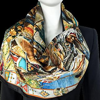 Vintage Hermes Silk Scarf Les Cheyennes Kermit Oliver RARE w/Box GRAIL