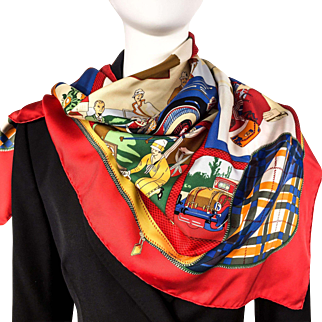 Vintage Hermes Silk Scarf L'Elegance et le Confort en Automobile RARE