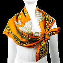 Authentic Vintage Hermes Silk Scarf Jonques et Sampans Orange CW