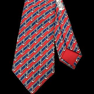 Authentic Vintage Hermes Silk Tie 7027 TA Anchors
