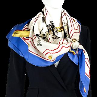 Authentic Vintage Hermes Silk Scarf Cadre Noir by Colonel G. Margot RARE