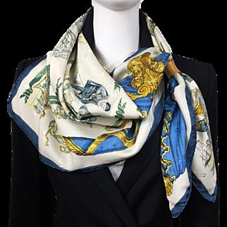 Vintage Hermes Jacquard Silk Scarf La Comedie Italienne Collector - RARE