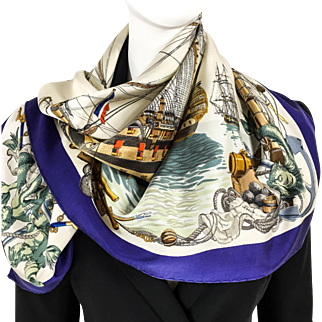 Hermes Silk Scarf L'Ocean RARE 1959