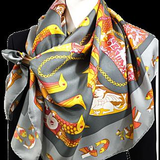 Hermes Silk Scarf Rhytons Gray RARE w/Box