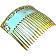 Early 20th Century Large Celluloid Rectangular Hair Comb