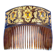 Large Victorian Embedded Crystal and 18k Gold Inlay Celluloid Back Comb