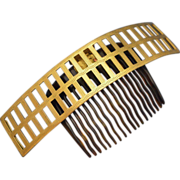 Large Mid Victorian 12k Gold Heading Articulated Comb