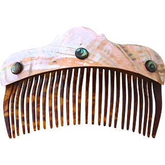 Antique Celluloid Back Comb With Mother-Of-Pearl Heading