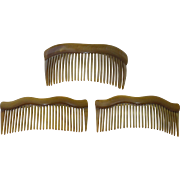 Set of 3 Edwardian Celluloid Combs