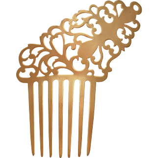 12 K Gold Victorian Open Design Comb
