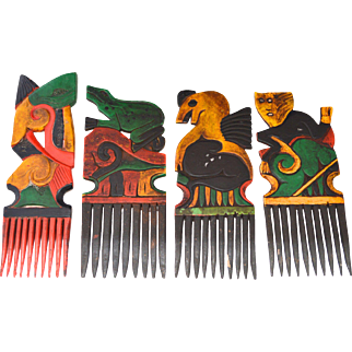 Set of 4 Vintage Indonesian Lombok Combs