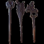 Set of 3 Large African Vintage Hairpins