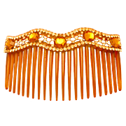 Antique Celluloid Back Comb With Clear and Amber Rhinestones