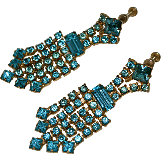 Mid 20th Century Chandelier Earrings With Blue Green Stones