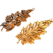 Married Set of Two 1950s Autumnal Leaf Hair Clips/Barrettes