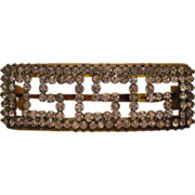 Antique Greek Key Rhinestone Open Work Celluloid Hair Clip/Barrette