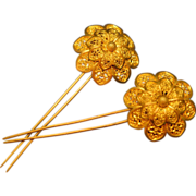 Pair of Antique 10k Gold Filigree Flower Hairpins - Red Tag Sale Item