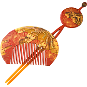 Japanese Set of Celluloid Gold and Red Kanzashi and Kushi Comb