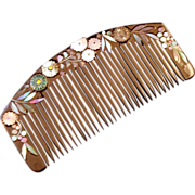 Japanese Abalone Chrysanthemums and Black Lacquer Vintage Kushi Comb - Red Tag Sale Item