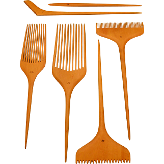 Old Japanese vanity set of traditional wooden combs