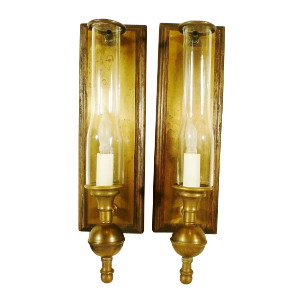 Vintage Lighting Wall Sconces Oak and Brass Glass Chimneys ...