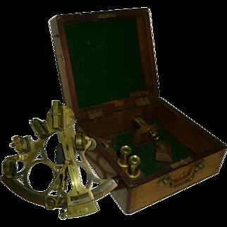 Antique Sextant Nautical Instrument Original Case