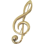 Music Treble Clef Brooch Sterling Silver