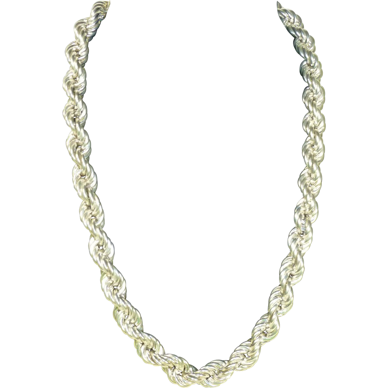 sterling silver large rope chain necklace from