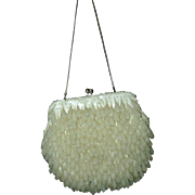 White Lucite Beaded Evening Bag Walborg