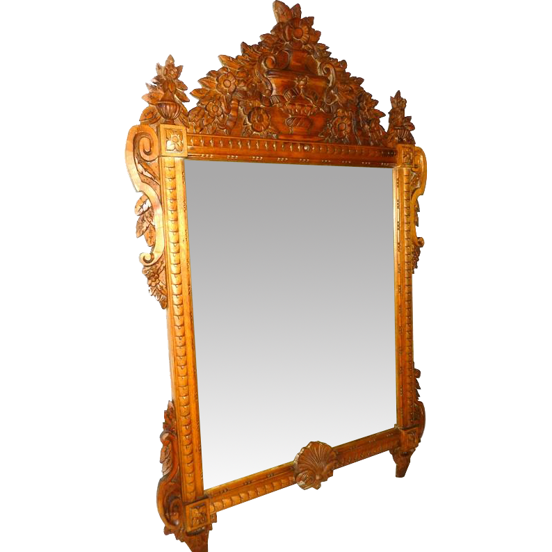 Antique carved wood framed mirror from cliffwoodantiques for Wood framed mirrors