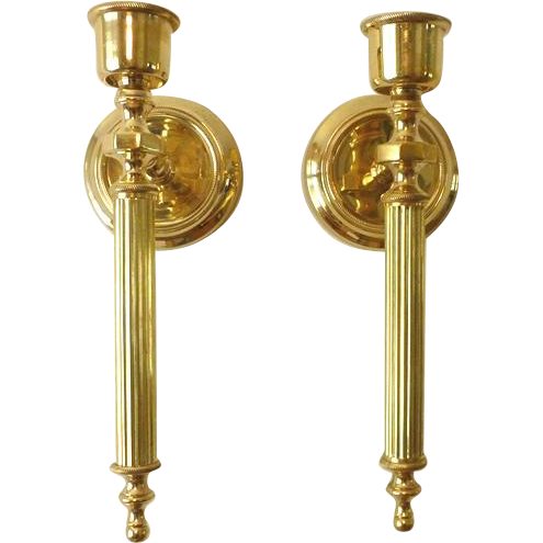 Candle Wall Sconces Vintage : Brass Candle Wall Sconces Vintage from cliffwoodantiques on Ruby Lane