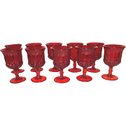 set of 10 L. G. Wright Ruby Red Water Goblets