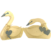 Vintage Folk Art Wood Swans