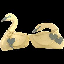 Vintage Folk Art Wood Swans
