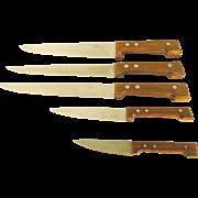 Mid Century Modern Dansk Knives Teak Handles