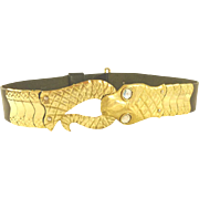Brass Snake Head and Tail Black Leather Belt