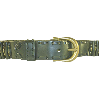 DKNY Black Leather and Brass Belt